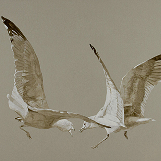 Gull Flight - Casein on Canvas - 30 x 40 - $32,500<br />
